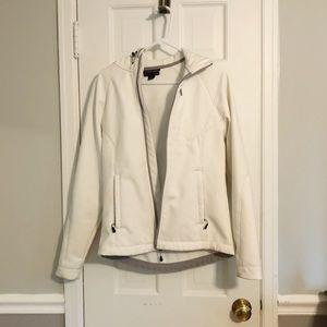 White wind breaker fleece jacket small women's